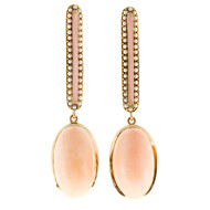Antique Vintage Victorian 38 Natural Pearl 10.00ct Coral 14k Dangle Earrings