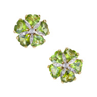 Vintage 15.00ct Greenish Heart Shape Peridot Diamond 18k Gold Clip Post Earrings