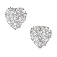Pave Round Diamond Heart Clip Post Earrings 14k Two Tone Gold