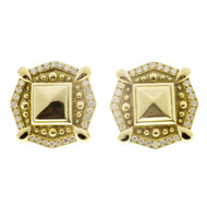 Estate European 18k Textured Eustrician Style Round Diamond Clip Post Earrings