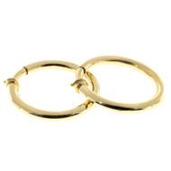 Vintage Non Pierced 18k Yellow Gold 1.59 Inch 4.5mm Hoop Earrings Italian