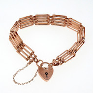Antique English Gate Bracelet 9k Pink Gold Heart Catch
