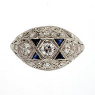 Antique Art Deco 1920 Old European .70ct Diamond Dome Ring Platinum