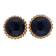 Vintage 1960s 15mm Deep Blue Round Lapis Lazuli 14k Gold Clip & Post Earrings