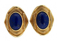 Vintage Estate Natural Lapis 14k Textured Roman Shield Pierced Post Earrings