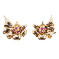 Vintage Tiffany + Co 1940s Non Pierced 14k Pink Gold Gem Ruby Clip Earrings