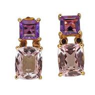 Vintage Art Deco Style 2.08ct Amethyst 9.28ct Morganite 18k Gold Dangle Earrings
