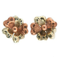 Vintage Retro Art Deco Pink and White Gold Flower Pierced Earrings