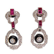 Edwardian Art Deco Ruby Onyx Diamond 18k White Gold Hinged Dangle Post Earrings