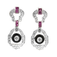 Edwardian Art Deco Ruby Onyx Diamond 18k White Gold Hinged Dangle Post Earrings