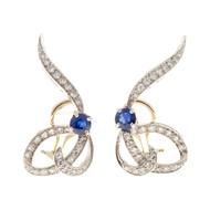 Vintage 1950s 14k Swirl Platinum Blue Sapphire 54 White Round Diamond Earrings
