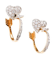 Estate 14k White Gold Cupid's Heart and Arrow Shaped Diamond Stud Hoop Earrings
