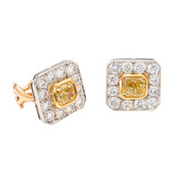 Yellow And Colorless White Diamond Earrings