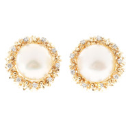 1950'S 17mm Fine High Lustre Mabe Pearl 14k .55CT Diamond Clip Post Earrings