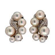 Vintage Estate 12 Aaa Pearl 14k White Gold Swirl Clip Post Earrings