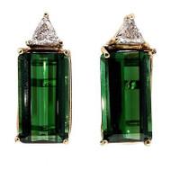 Vintage 9.50ct Emerald Step Cut Green Tourmaline .50ct Diamond 14k Earrings