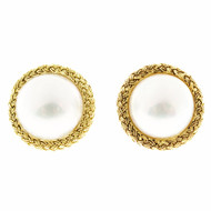 Vintage 15mm Gem Mabe Pearl 18k Yellow Gold Hand Braided Clip Post Earrings