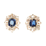 Antique Victorian 14k Pink Gold 1.43ct Sapphire Rose Cut Diamond Earrings