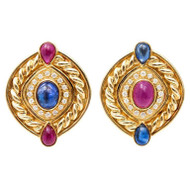 Vintage 3.50ct Cabochon Ruby 3.50ct Sapphire .50ct Diamond 18k Clip Earrings