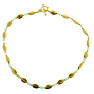Vintage Lg Design 16 3/4 In Bluish Green Faceted Bead 22k Toggle Link Necklace