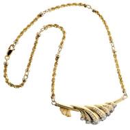Vintage 14k Yellow & White Gold Pave Diamond Shell Design Bib Style Necklace