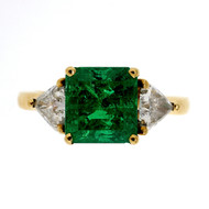 Vintage Estate 1.60ct Bright Green Emerald Cut Emerald 18k Diamond Ring