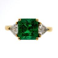Vintage Estate 1.60ct Bright Green Emerald Cut Emerald 18k Diamond Ring
