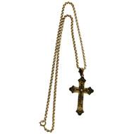 Antique Victorian Eutruscian Revival 1860 12k Gold Cross Pendant Necklace