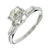 Late Art Deco Transitional Cut 1.52ct Diamond Platinum Engagement Ring
