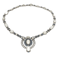 MMA Vintage Moonstone 30.00ct 14k White Gold Sapphire Necklace