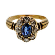 Victorian 14k Yellow Gold Silver Top Ring .73ct Sapphire Rose Cut Diamonds