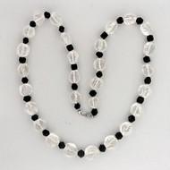 Natural Rough 435.0ct Quartz Crystal Black Tourmaline 92.00ct Necklace 27 Inches