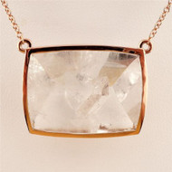 Natural 38.44ct Manifestor Quartz Crystal 14k Pink Gold Necklace