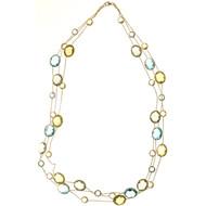 Vintage 3Row Lemon Quartz Blue Topaz Green Amethyst 14k Gold Necklace 70.00cts
