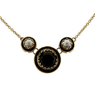 10mm Cabochon Onyx 5.5mm Mobe Cultured Pearl Channel Garnet 14k Necklace
