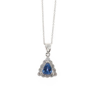 Estate Solid Platinum Triangular Tanzanite Diamond Pendant Delicate Cable Chain