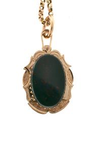 Antique Victorian Bloodstone 14k Pink Gold Locket Necklace