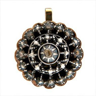 Antique Rose Cut Diamond .26ct Silver 14k Rose Gold Pendant Natural Patina