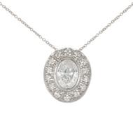 Antique Oval .83ct Diamond Bead Bezel Platinum Slide Pendant 16 Inch Chain