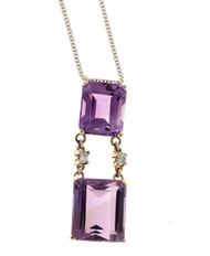 Art Deco 10.02ct 2 Emerald Amethyst Diamond 14k White Gold Pendant 16 In Chain