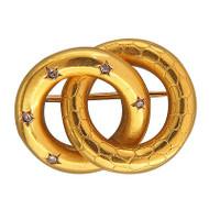Victorian 3-D Double Intertwined Circle Rose Cut Diamond 14k Yellow Gold Pin