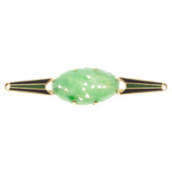 Art Deco Carved Natural Untreated Pierced Jadeite Jade Blue Green Enamel Pin
