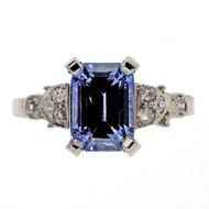 Antique Art Deco Engagement Ring 2.03ct Bright Blue Platinum Ring