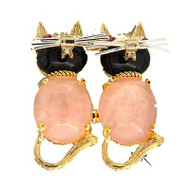 1950's Double Cat Pin Black Oval Onyx Rose Quartz Ruby Eyes 14k Yellow Gold Pin