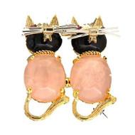 1950's Double Cat Pin Black Oval Onyx Rose Quartz Ruby Eyes 14k Yellow Gold Pin