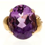 Vintage 1940 9.50ct Oval Amethyst Medium Purple Retro Deco 14k Pink Gold Ring