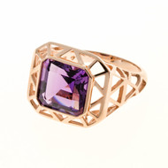 Antique Retro Art Deco 4.20ct Asscher Cut Amethyst 14k Pink Gold Ring