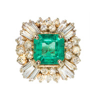 Estate 1960s 4.00CT  Asscher Cut Emerald & Baguette Round Diamond Princess Ring