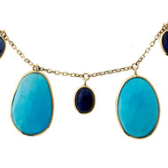Estate 5 Turquoise 4 Sapphire 14k Yellow Gold Necklace