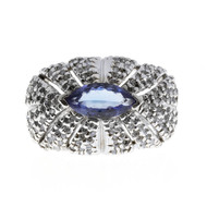 Estate Dome 1.0ct Marquise Tanzanite 14k White Gold Open Work Pave Diamond Ring